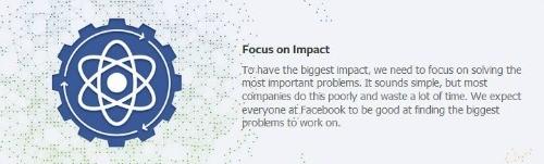 Facebook brand values: focus on impact