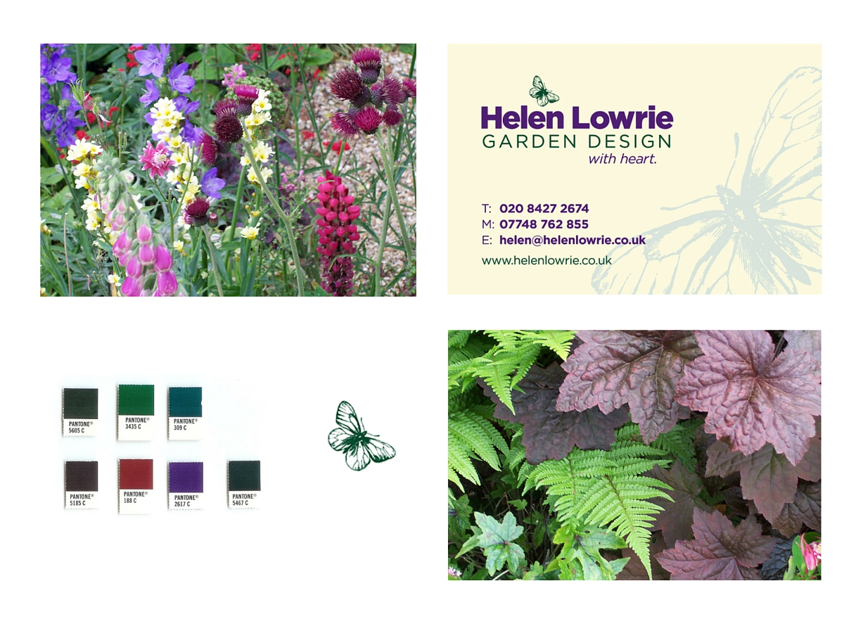 Helen Lowrie Garden Design business card, icon and colours