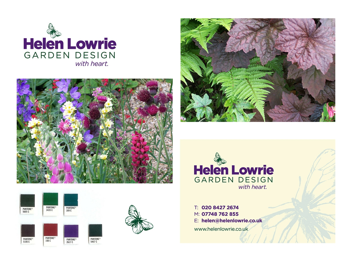 Helen Lowrie Garden Design logo, colours and business card