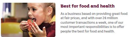 Sainsbury brand values: best for food and health