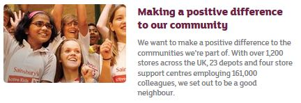 Sainsbury brand values: positive for the community