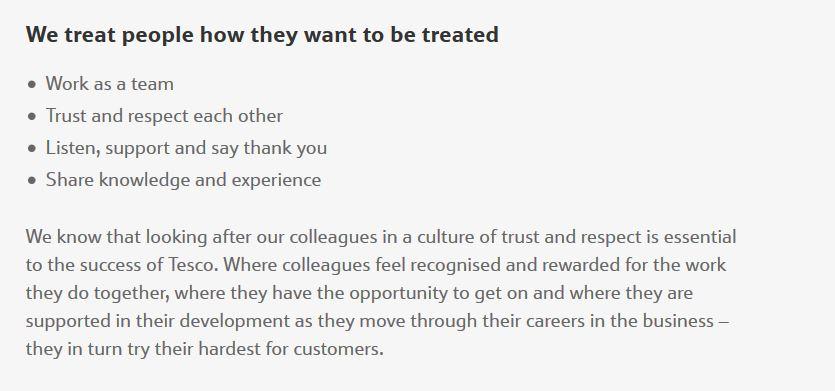 Tesco brand values: treat people well