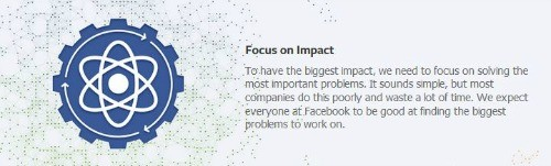 Facebook brand values: focus on impact