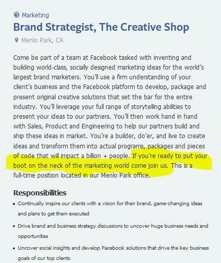 Facebook brand values: recruitment ad