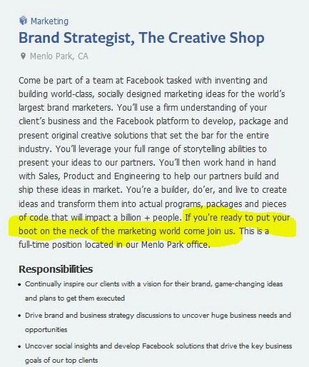 Facebook brand values: recruitment ad
