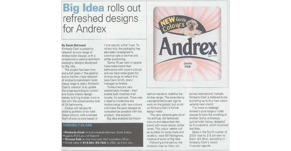 Andrex Packaging Design Updates – new colours and new product