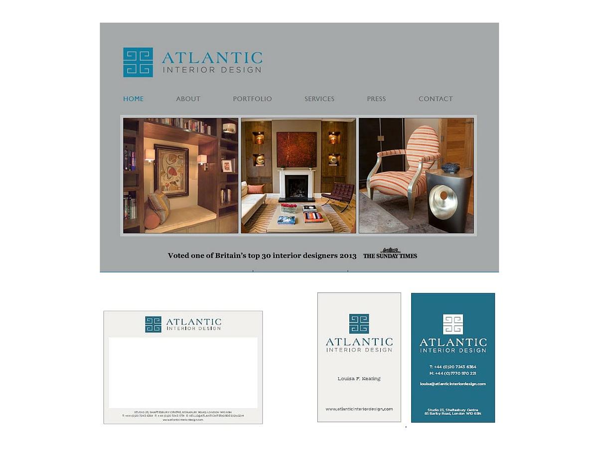 Atlantic Interior Design website, postcard and business card