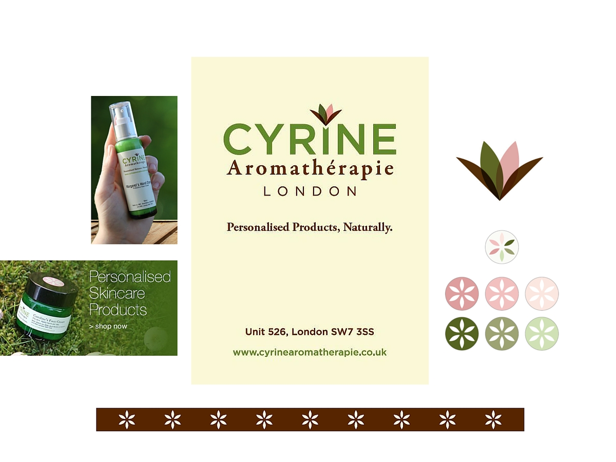 Cyrine Aromatherapie labels, icon, stickers, ribbon