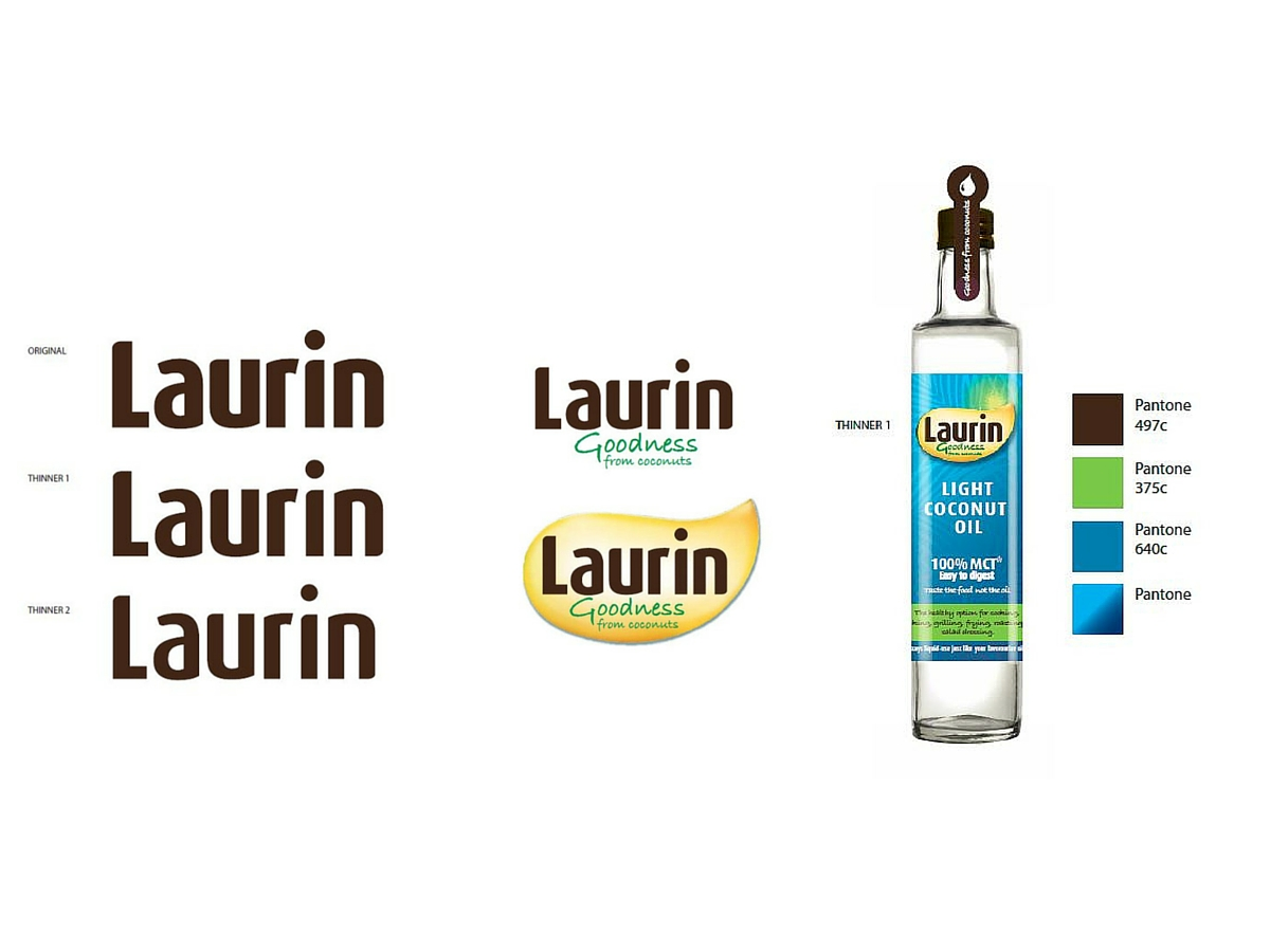 Laurin coconut oil brand logo and colours