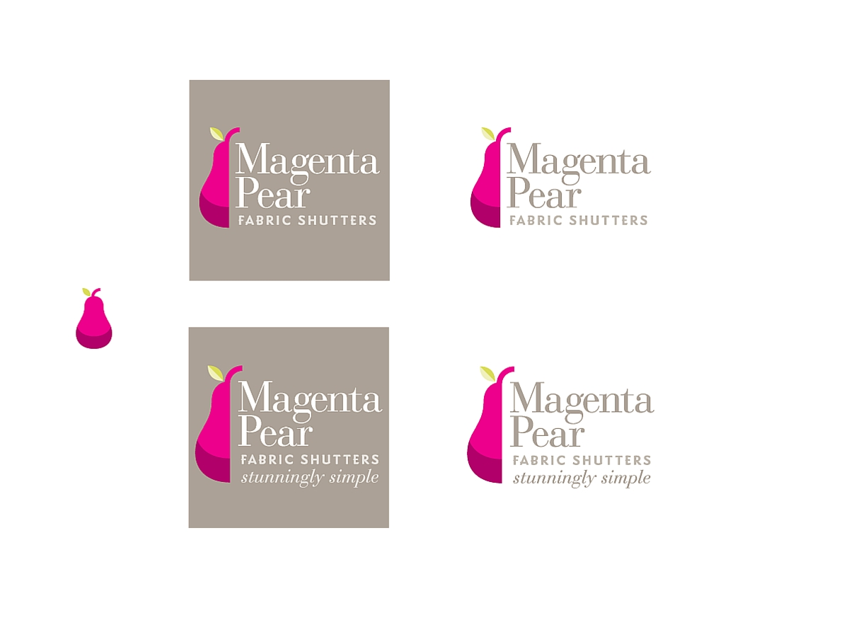 Magenta Pear fabric shutters branding
