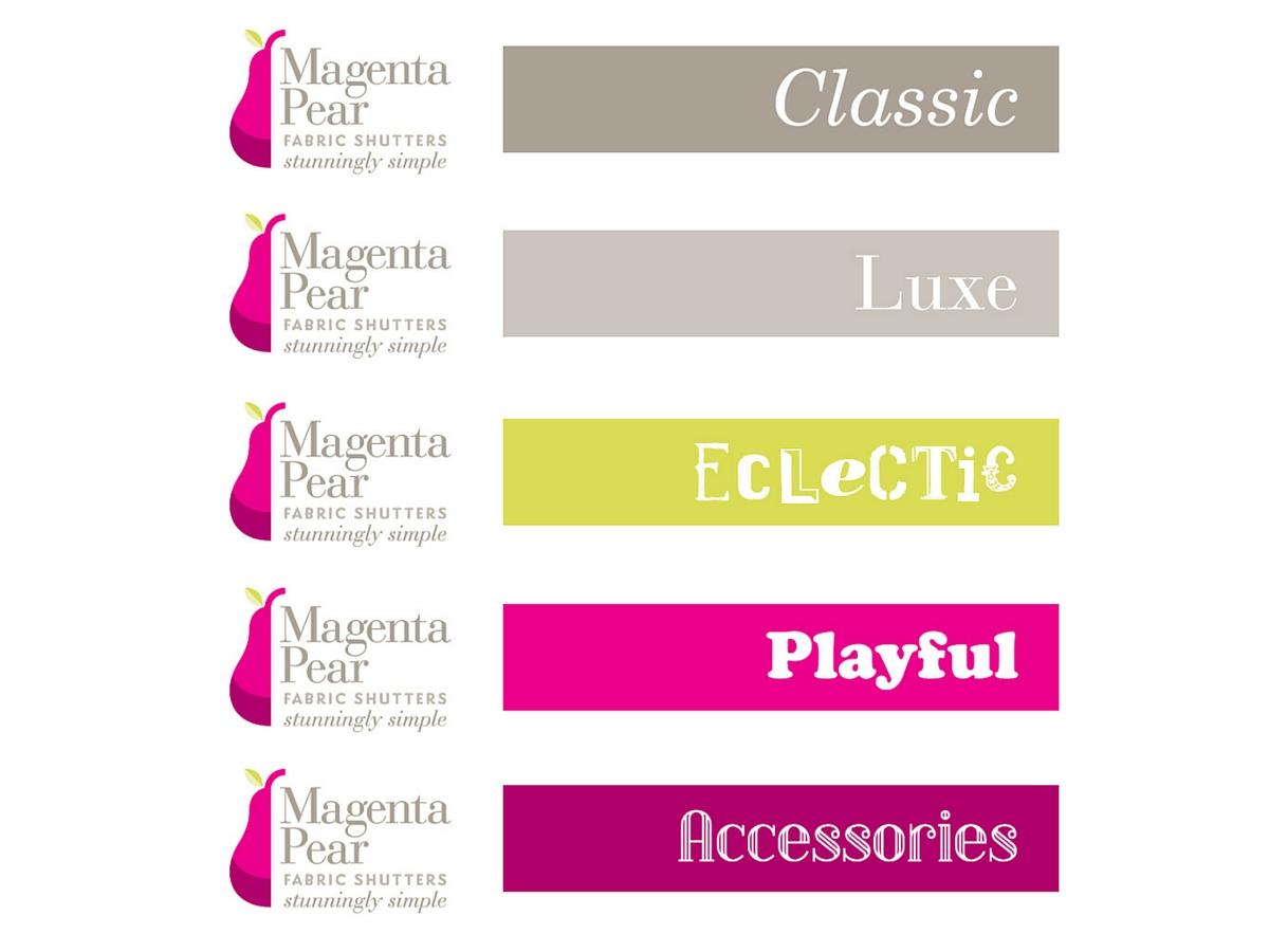 Magenta Pear fabric shutters range names