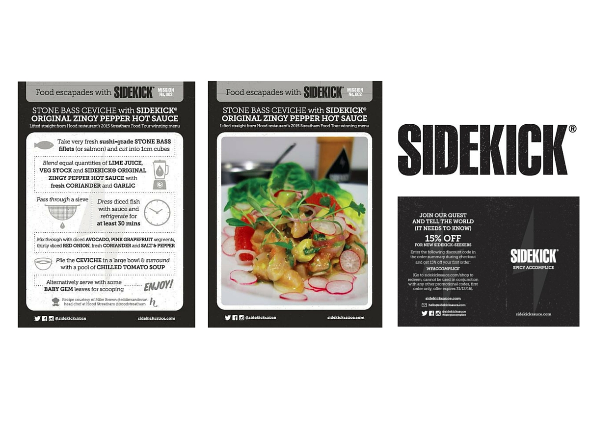 Sidekick sauce recipe card