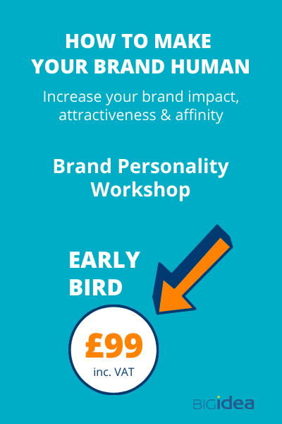 Early bird £99 brand personality workshop
